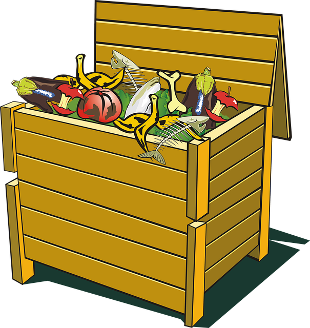Cartoon compost bin, a type that could be used on concrete.