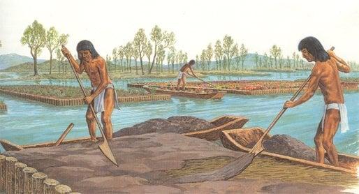 Aztecs farming artificial islands.