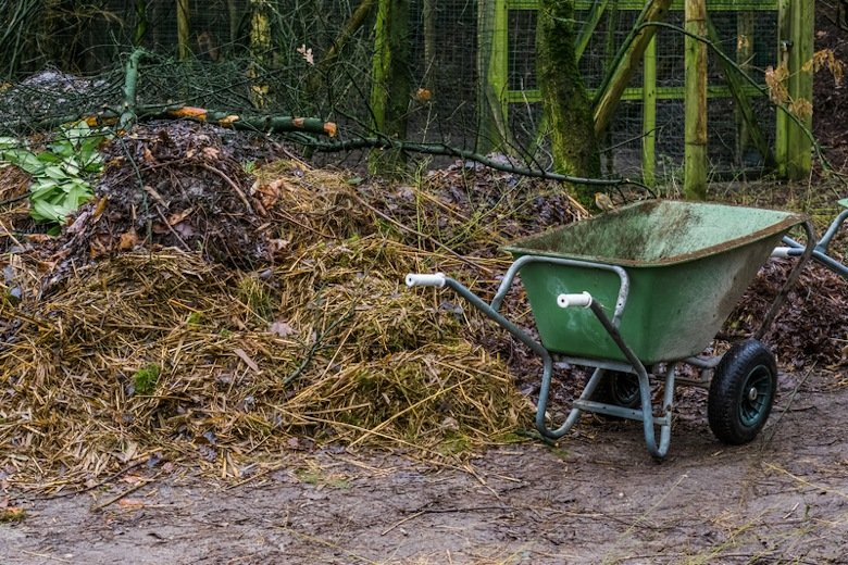 One essential compost tool, the wheelbarrow, next to a large compost heap.