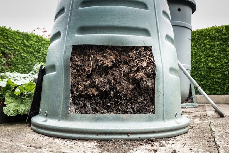 Immature compost in a Dalek bin.