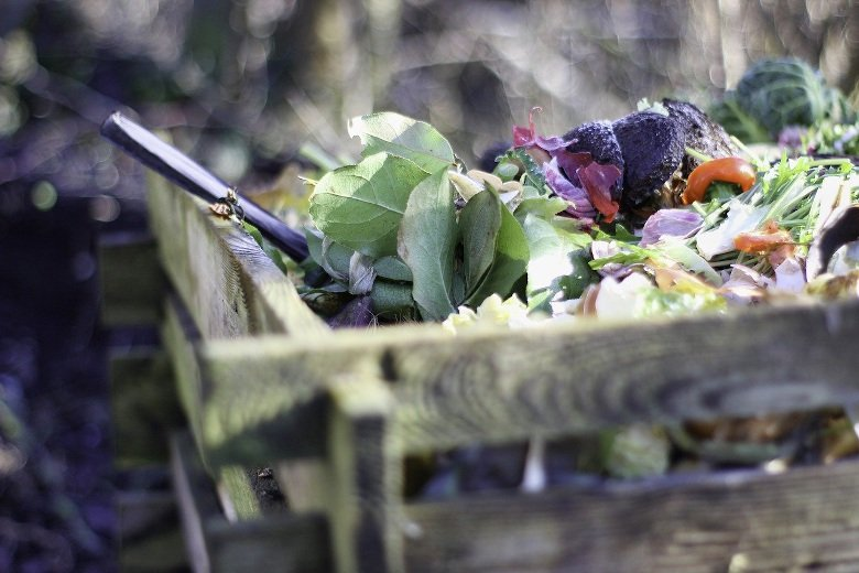 Mixed waste in the compost heap.